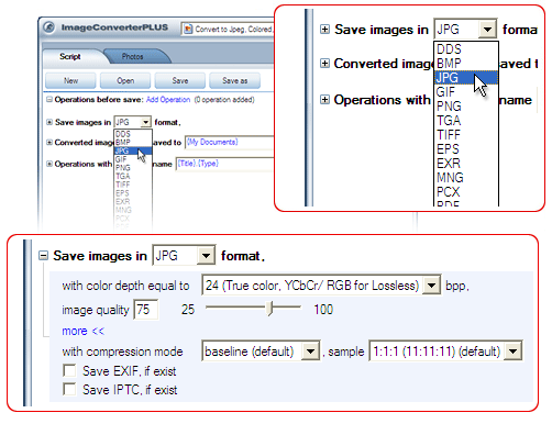template2Convert DICOM  to JPG. Avaible settings for JPG file format.